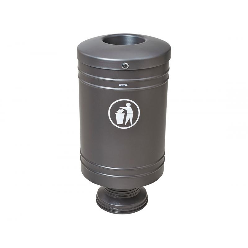 Base mounted standard steel litter bin - 60 litres