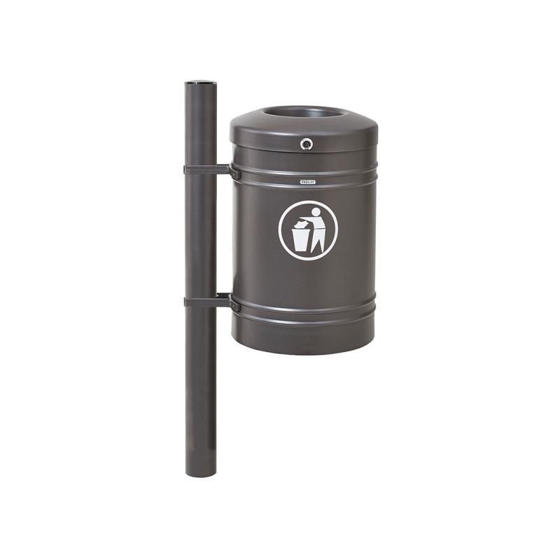 Standard steel litter bin –stainless steel - 40 litres