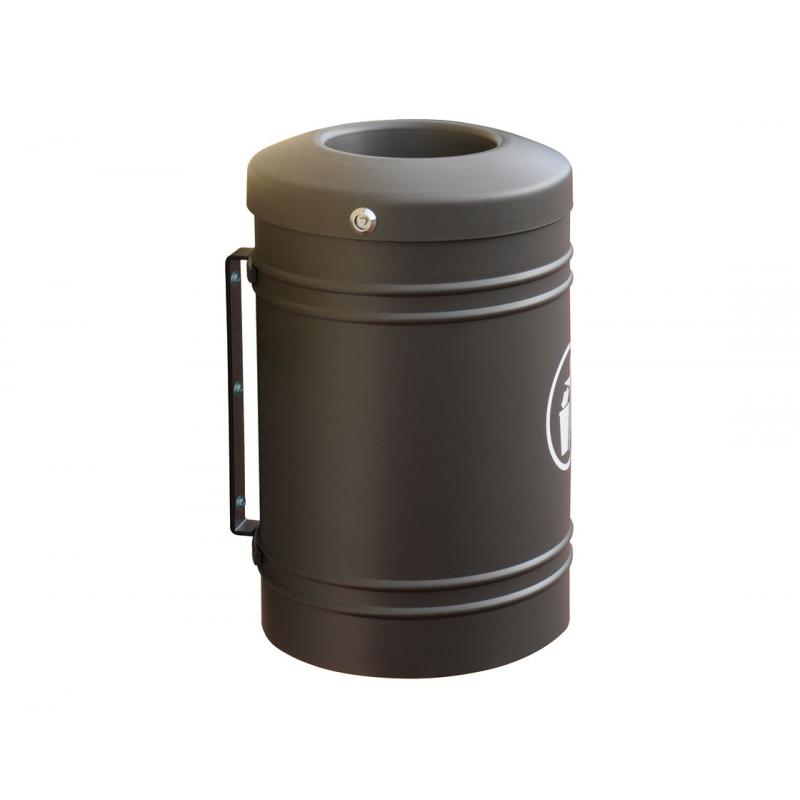 Wall mounted steel litter bin - 40 litres